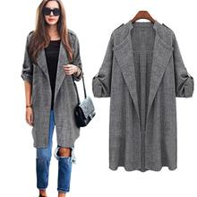 Feitong Plus size M-5XL Womens Open Front Trench Coat Long Cloak Overcoat Waterfall Cardigan Long Women Basic Coat #OR