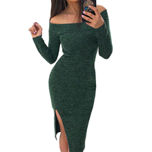 Buy Autumn Winter Dress Side Split Bodycon Sexy Party Dress Slash Neck Slim Robe Dresses Femme Jumper Solid Women Dress GV079 for $9.39 in AliExpress store