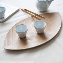 Japanese style retro wooden leaf fruit tray dried disc disc son snack tray table.(China)