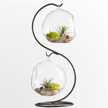 Mkono Air Plant Terrarium Airplants Glass Vase Succulent Terrariums Container Table Plants Planter with Metal Stand, S shape