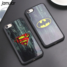 JAMULAR Camouflage Mirror Case for iPhone X 8 7 6s SE 5S Cover Batman Superman Silicone Rubber Case for iPhone 6 6s 7 Plus Cover(China)
