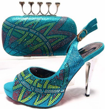 JA10-5-4 Sexy AQUA lady thin high heels italian shoes with matching handbags set for women dresses,free shipping by DHL!