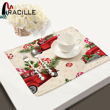 Miracille 2/4/6pieces Set Cotton Linen Placemats Merry Christmas Printed Home Decorative Table Mat Kitchen Accessory Coffee Mat(China)