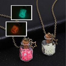 New Dream Stars Noctilucent Necklace Glow In The Dark DIY Handmake Drifting Bottle Pendant Necklaces For Women Luminous Jewelry