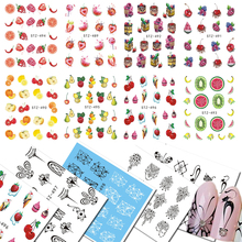 1 Sheets Colorful Summer Nail Art Water Tattoo Fruit Series Strawberry Black Pendant Pattern for DIY Nail Sticker CHSTZ489-500