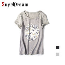 Women silk T shirt Short sleeve Black O neck Silk and Cotton Patchwork shirt Blusas femininas 2017 Spring Summer BLACK WHITE(China)