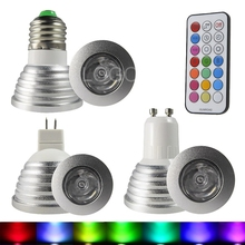 LED RGB Lamp E27 E14 GU10 MR16 leds bombillas spot light 3W 85-265V  Dimmable Magic + IR Remote Control Home Decoration