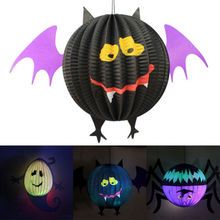 New Halloween Hanging Lantern Bat  Spider Ghost Shape Paper Party Decoration