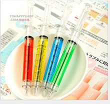 Novelty Needle Tube Writing Ball Point Syringe Flowing Liquid Black Ink Ballpoint Pen Cute Stationery Office Supplies 4pcs