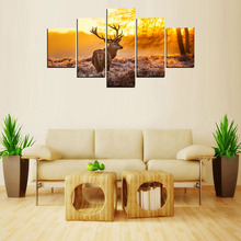 5 Panels Deer Look back Canvas Print Painting for Living Room Wall Art Picture Gift Home Decoration  For Living Room FIV0028