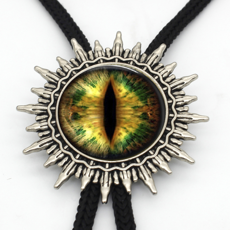 Handmade Glass Dragon Eye Dome Cowboy Bolo Tie