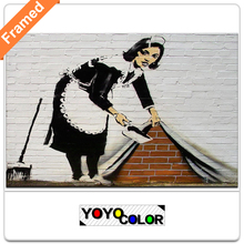 Banksy the sweeper, Framed Canvas Print Painting Artwork, Unique Wall Art Picture Gift for Living Room, WHOLESALE B702