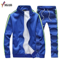 New Brand Men's Tracksuits Side Stripe Sportswear Coats Jackets+Pants Sets Mens Hoodies And Sweatshirts Outwear Men 5XL