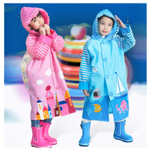 Fashion PVC Cartoon Waterproof Rainsuit Cute Baby Poncho Child Rainwear Children's Raincoat With School Bags Position(China)