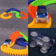 Magic Glow in the Dark Racing Tracks Set Bend Flex Glow Assembly Toy 162/165/220/240pcs  Race Track + 1pc LED Car
