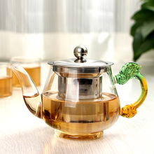 350ml Handmade Teapot With Filter Heat Resistant Glass Tea Pot Infuser Stainless Steel Kettle Wholesale Tea Pots Drinkware