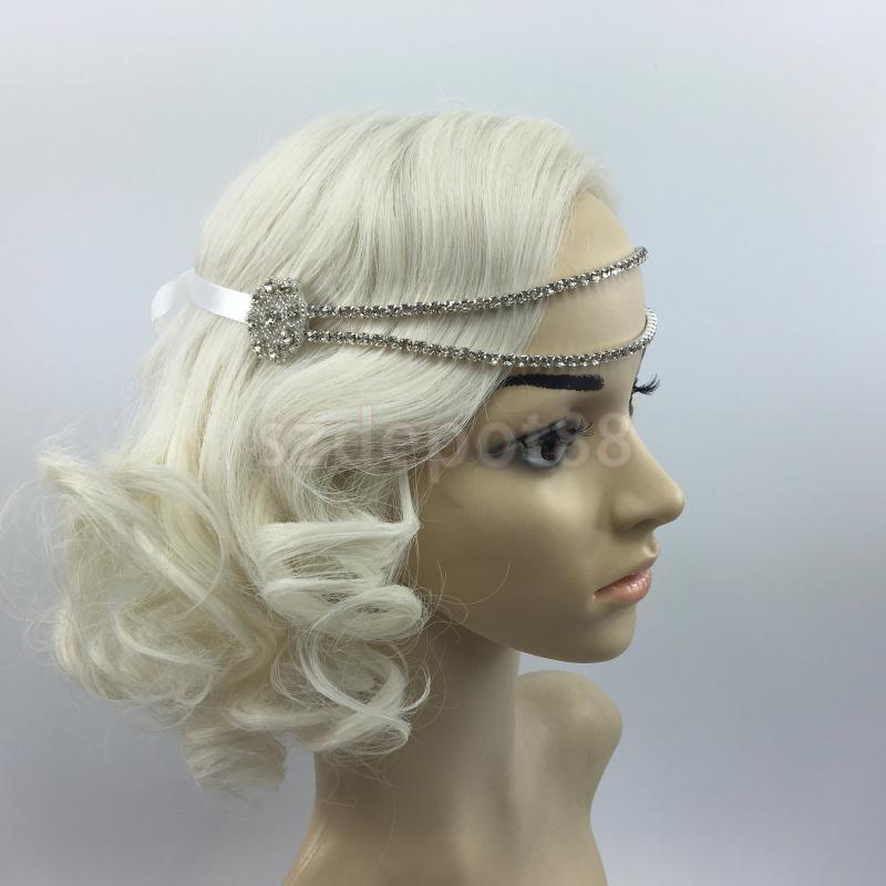 1920s Black Silver Diamante Headband Rhinestone Hairband Gatsby Flapper Vintage