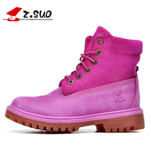 Z. Suo Brand Genuine Leather Women Boots, Fashion Ankle Boots Women, Spring Leather Women Shoes Casual Martin Boots