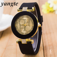 YANGTE Watch Women Logo 2017 Ladies Designer Watches Luxury Famous Montre Femme High Quality Rhinestone Gold Charm Bracelet(China)