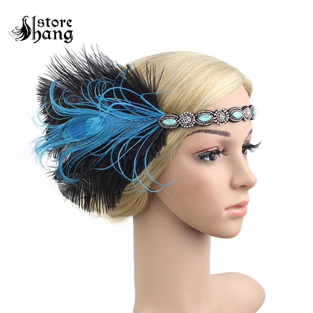 Pink Flapper Headpiece Peacock Feather Headband Crystal Great Gatsby 1920s