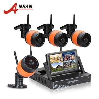 "Newest ANRAN Plug&Play 4CH Surveillance System 7"" LCD Screen Wireless NVR Kit 1TB HDD P2P 720P HD Outdoor IR WIFI IP Camera"