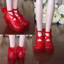 Red Fashion Bowknot Shoes For Blythe Dolls 1/6 Jelly Shoes For Licca Doll Mini Shoes For 1/6 BJD Doll Accessories(China)
