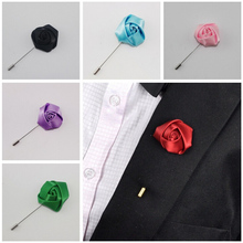 1Pcs New Style Best Man Groom Boutonniere Silk Satin Rose Flower men buttonhole Wedding Party Prom Man Suit Corsage Pin Brooch