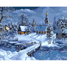 Christmas Oil Painting By Numbers Snowhouse Night Landscape Paintings Modular No Frame Canvas DIY Digital Coloring Wall Pictures