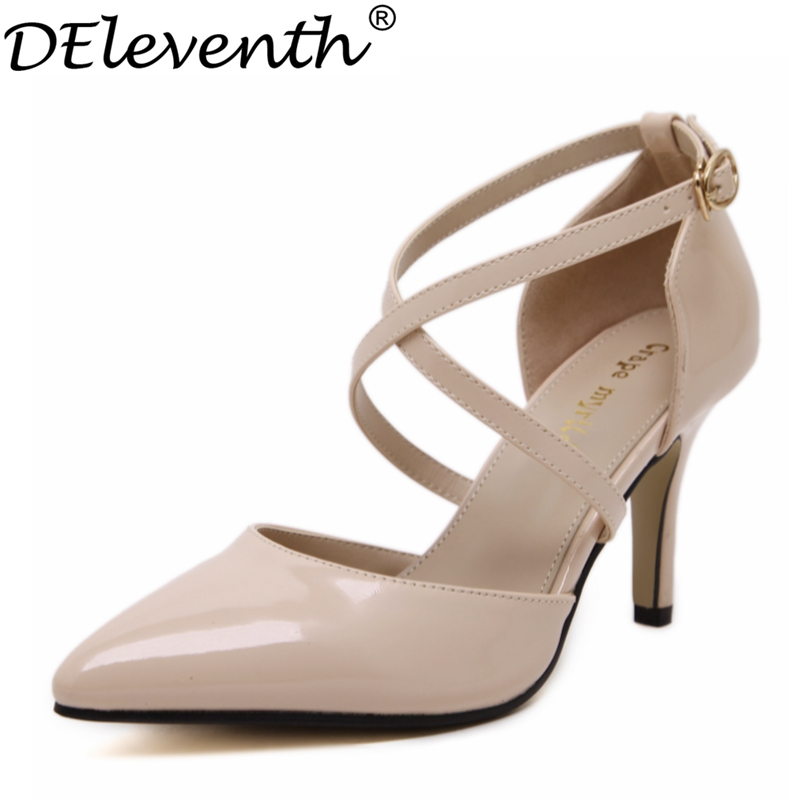 2017 Autumn Fashion New Buckle Strap Pointed Toe High Heels Cross Strap Patent Leather Shallow Office Lady Evening Party Apricot<br><br>Aliexpress