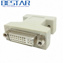 VGA SVGA RGB 15Pin Male to DVI -I 24+5 Female adapter Beige for video card dvi vga adapter