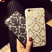 LELOZI Damask Pattern Vintage Flower Case Hollow Palace Flower Back Protector Shell Cover For iphone 5s SE 5 6 6s Plus 6Plus(China)