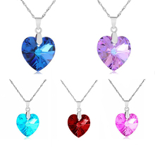 2016 Fashion Jewelry 5 colors Austrian Crystal Heart Pendant Necklace Women Colorful Love Necklaces & Pendants Collares
