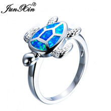 JUNXIN Unique Female Blue & White Fire Opal Wedding Ring Fashion Turtle Ring Gold Filled Animal Jewelry Vintage Rings For Women