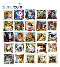 3TH Cats DIY Acrylic Yarn Embroidery Pillow Tapestry Canvas Cushion Front Cross Stitch Pillowcase(China)