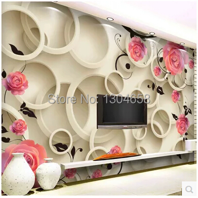 Custom papel DE parede 3 d, large murals of 3d circle Rose to the sitting room the bedroom TV wall vinyl which wallpaper <br>