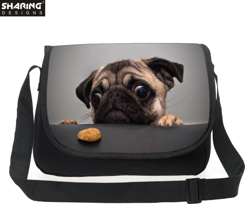 Multicolor Animal Pug Dog Messenger Bag Cross body Bag For Women Vintage Teenager Girls Travel Messenger-bag Over Shoulder<br><br>Aliexpress