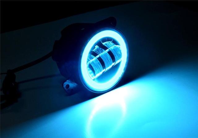 FADUIES 2PCS DOT 4Inch Round Wrangler Led Fog Light 30W 6000K White Halo Ring DRL Off Road Fog Lamps For Jeep Wrangler JK TJ LJ (4)