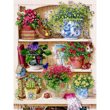 Warm Home Flower On The Shelf Diamond Embroidery Diy Diamond Paintings Mosaic Picture Pattern Cross Stitch Full Rhinestone WL079