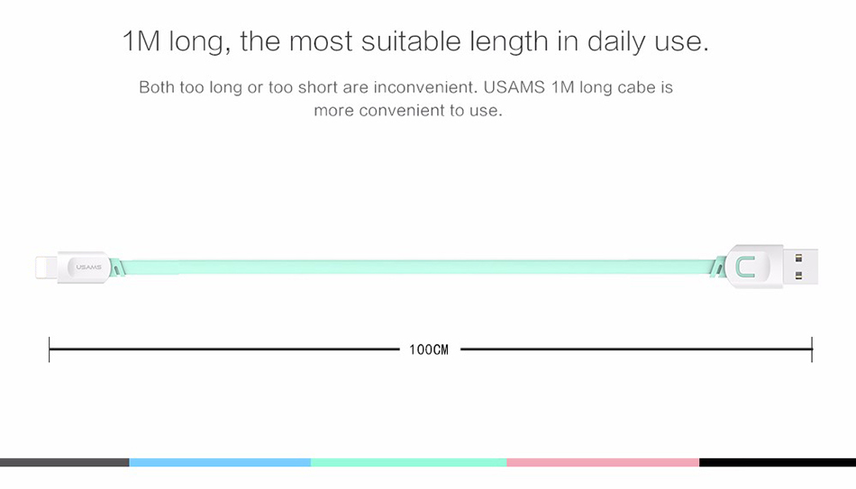 For IPhone Cable IOS 11 10 9 USAMS 2.1A Fast Charging 0.25m 1m 1.5m Flat Usb Charger Cable For iPhone 8 7 i6 iPhone 6 6s X Cable 14