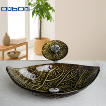 OUBONI Retro Style Glass Bowl Bathroom Sink Leaf Art Wash Basin With Waterfall Faucet Tempered Glass Bathroom Sink Set