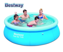 "57265 Bestway 8'x26""/2.44mx66cm FAST SET POOL REENGINEED with Water Cleaner Drain Valve Top-ring Inflate Pool EASY TO ASSEMBLE"