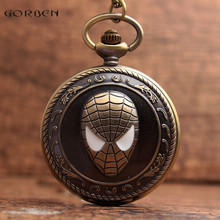 New Unique Spider Design Bronze Pocket Watch with FOB Necklack Chain Super Hero Spider-Man Fans Quartz Pocket Watch Mens Gifts
