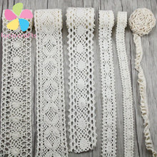 Lucia Crafts 2y Apparel Sewing Fabric DIY Ivory Trim Cotton Crocheted Lace Fabric Ribbon Handmade Accessories 050021158