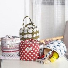 Portable Drawstring Cotton And Linen Insulation Thermal Picnic Lunch Bag For Women kids Men Food Storage Lunch Box Ice Bag(China)