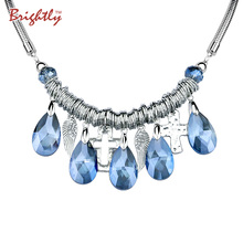 Brightly Angel wings & Cross Statement Necklaces with 5 Blue/white Hanging Drop Luxury Rhinestone Pendants Necklaces For Women(China)