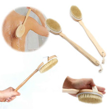 Natural Long Wooden Bristle Body Brush Massager Bath Shower Back Spa Scrubber Free Shipping