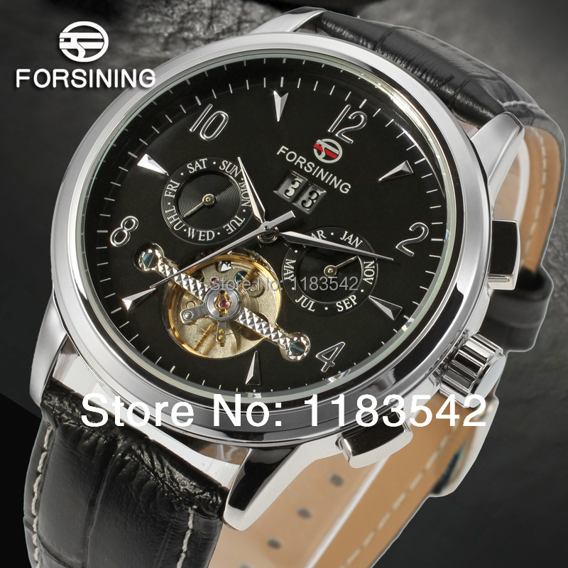 Forsining   FSG16577M3S1 Automatic  new fashion tourbillon silver color black leather strap watch for men free shipping<br>