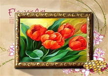 Needlework 5D Diy Diamond Painting Cross Stitch red  Rose Diamond Embroidery crystal round  Flower Picture 43x37
