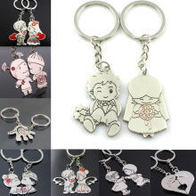 LNRRABC Fashion 1 Pair/Set Women Romantic Couple Key Ring Cartoon Lover Keychain Valentines Gift 9 Style