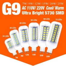 10pcs/lot Led 5730SMD AC110V/220V G9 Corn Bulb Lamp Cool/Warm White Led Light Chandelier Indoor Decoration 7W 9W 12W 15W 20W 25W